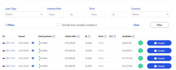 Loan Deals Page